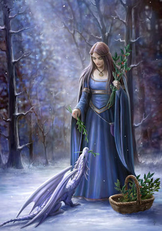 anne stokes solstice gathering yule greeting card, Greeting card