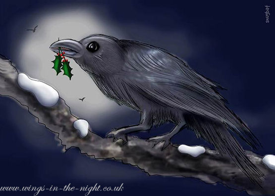 Crow Raven Gothic Yule Christmas Card