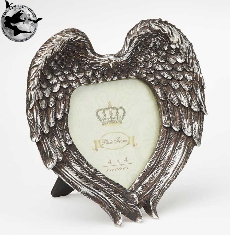 ALCHEMY GOTHIC Angel Winged Heart Photo Frame | Gothic Gifts