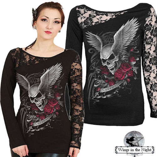 Ladies Gothic CLOTHING - Ascension Black Lace Top - XX Large UK 16-18